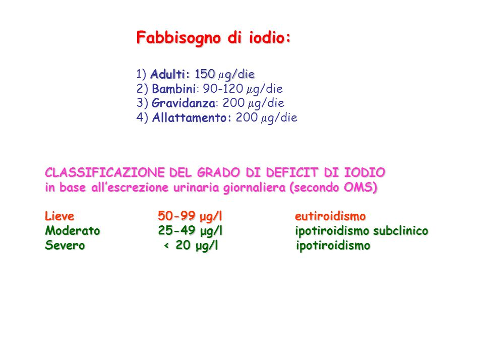 Fabbisogno di iodio: 1) Adulti: 150 g/die 2) Bambini: 90-120 g/die