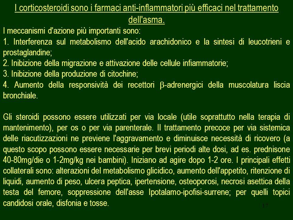 I corticosteroidi sono i farmaci anti-inflammatori più efficaci nel trattamento dell asma.