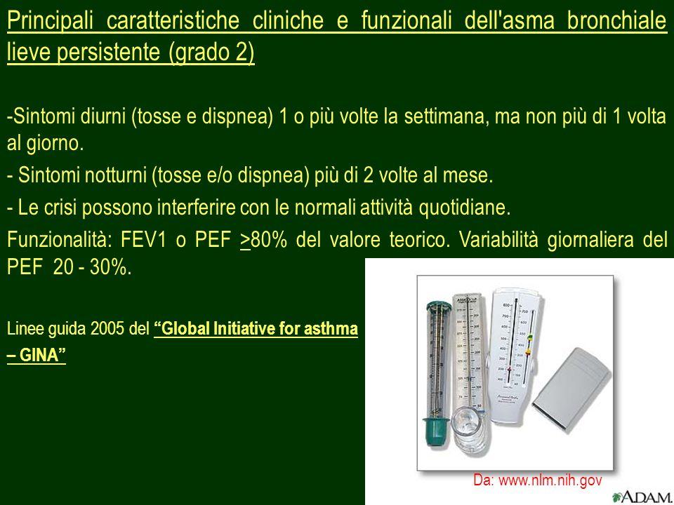 Principali caratteristiche cliniche e funzionali dell asma bronchiale lieve persistente (grado 2)