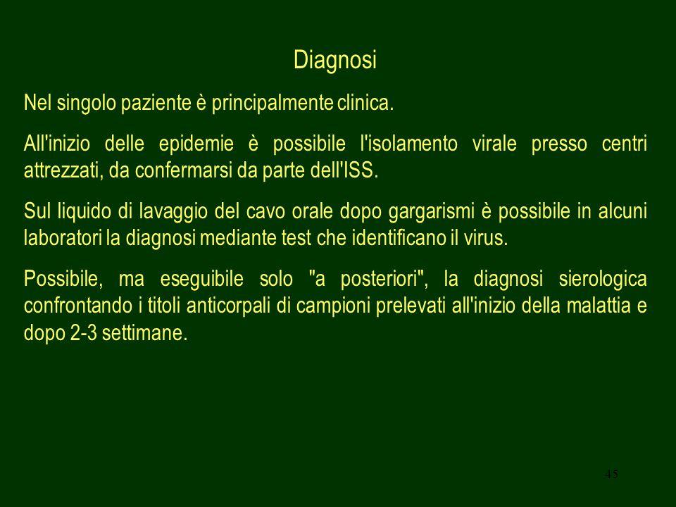 Diagnosi Nel singolo paziente è principalmente clinica.