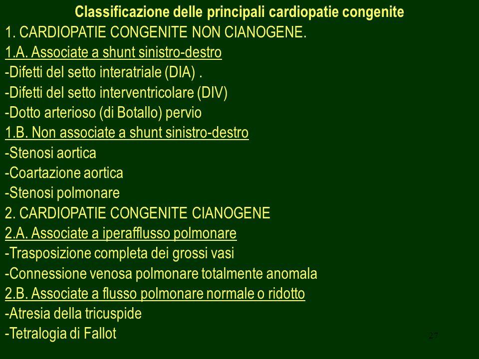 Classificazione delle principali cardiopatie congenite