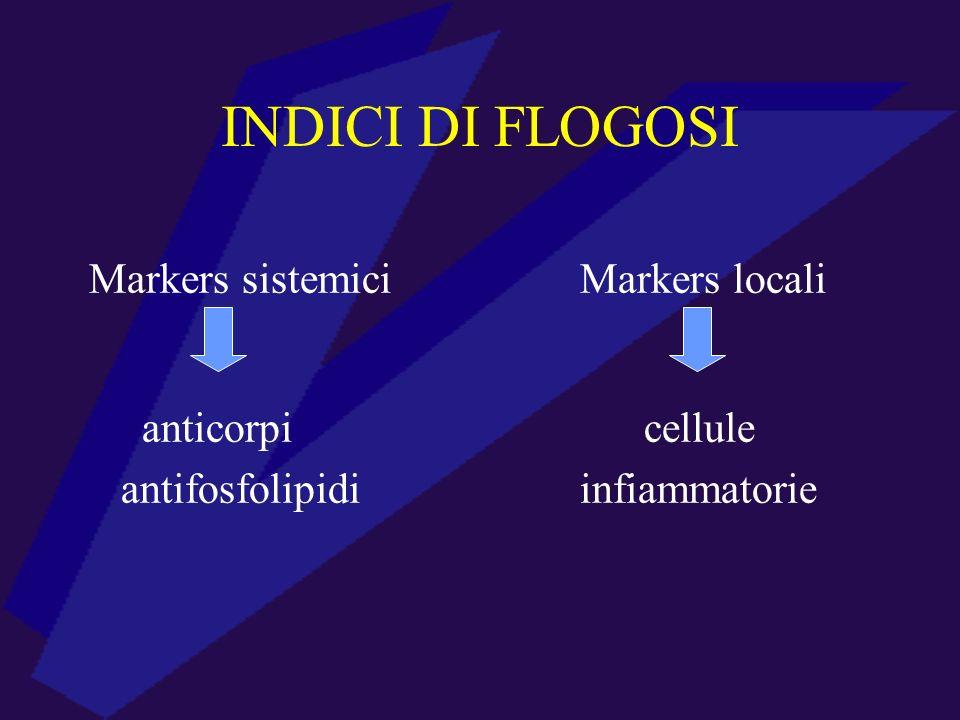 INDICI DI FLOGOSI Markers sistemici Markers locali anticorpi cellule