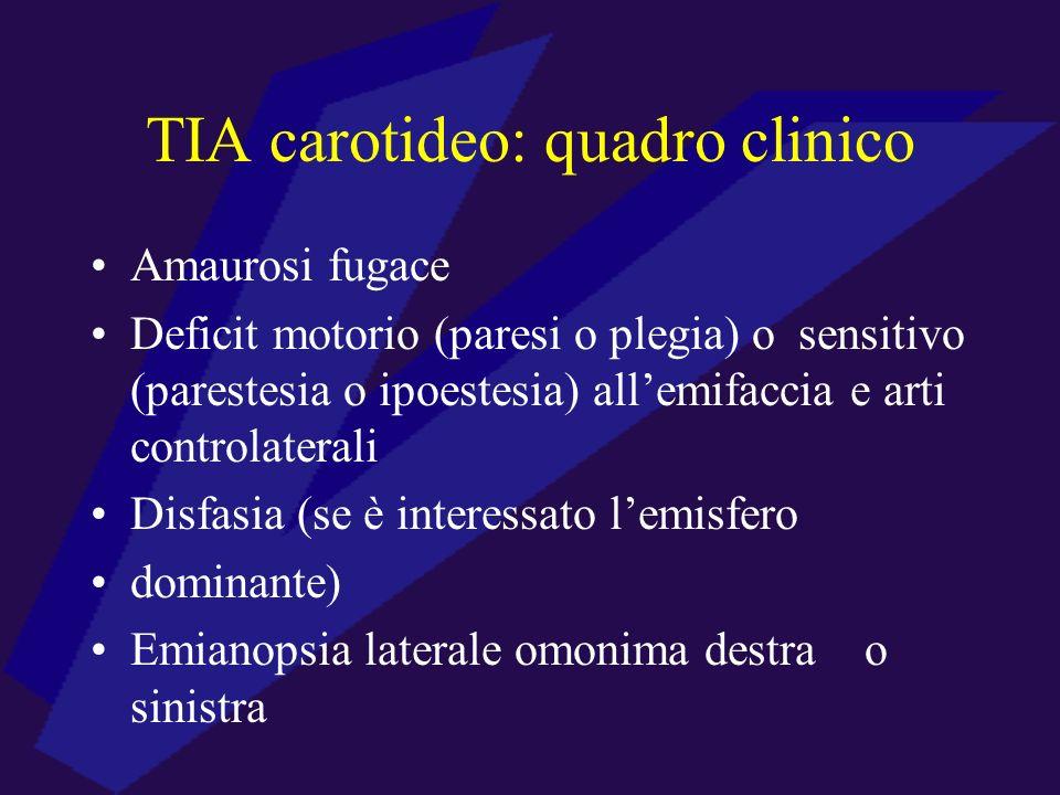 TIA carotideo: quadro clinico