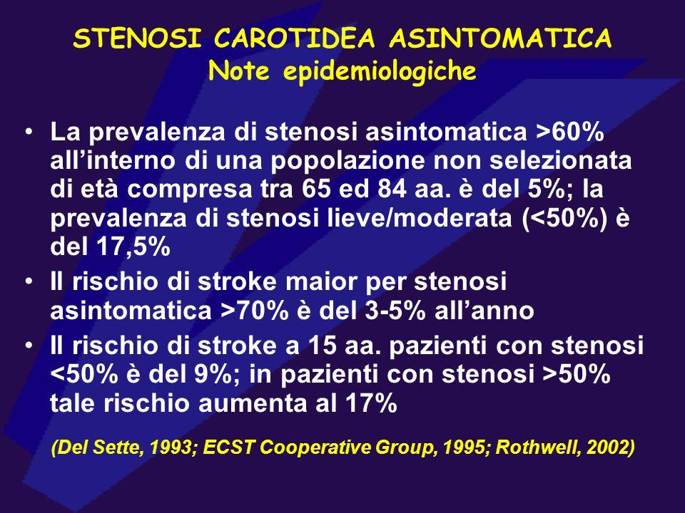 STENOSI CAROTIDEA ASINTOMATICA Note epidemiologiche