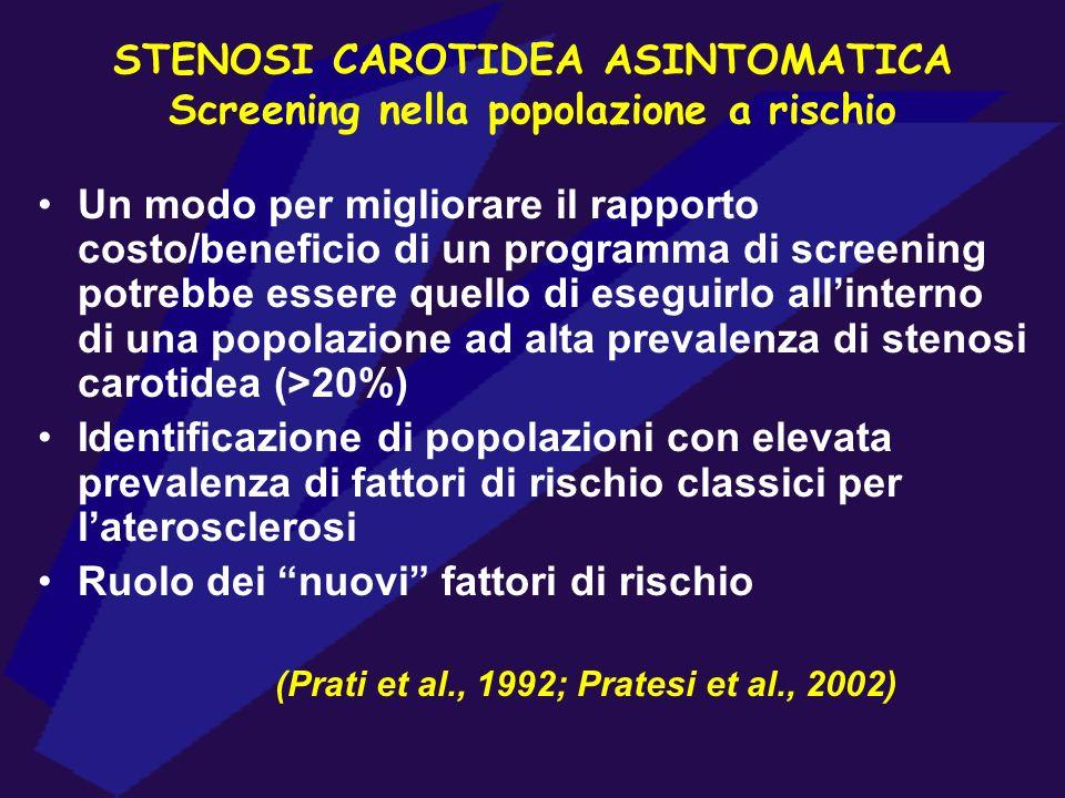STENOSI CAROTIDEA ASINTOMATICA Screening nella popolazione a rischio