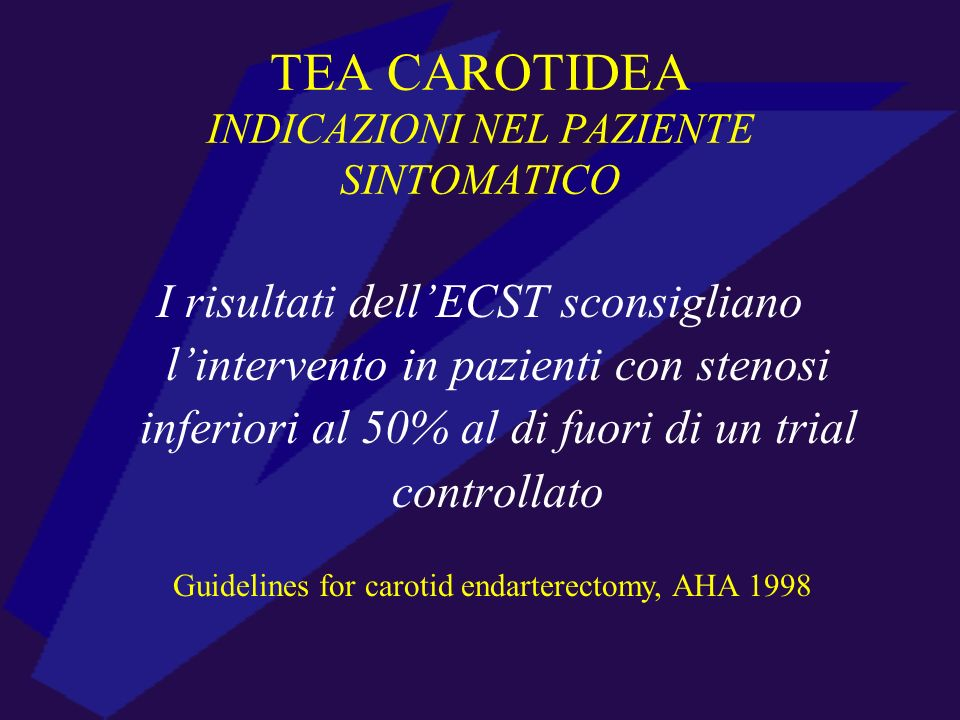 TEA CAROTIDEA INDICAZIONI NEL PAZIENTE SINTOMATICO