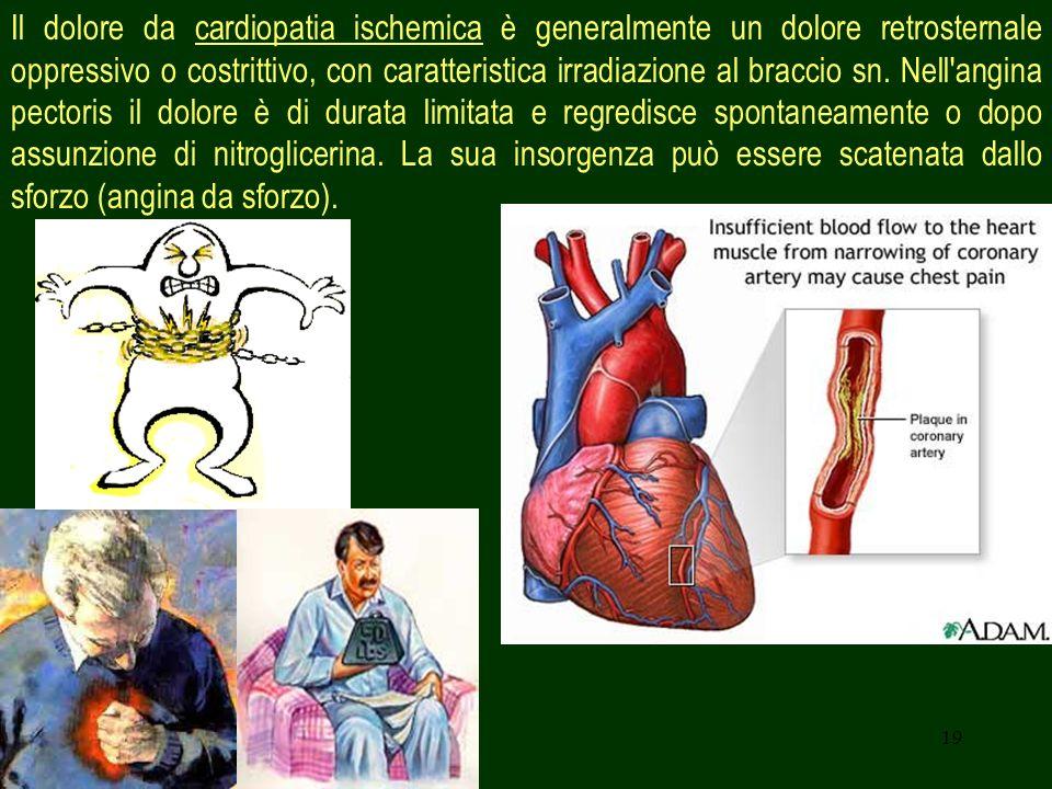 Il dolore da cardiopatia ischemica è generalmente un dolore retrosternale oppressivo o costrittivo, con caratteristica irradiazione al braccio sn. Nell angina pectoris il dolore è di durata limitata e regredisce spontaneamente o dopo assunzione di nitroglicerina. La sua insorgenza può essere scatenata dallo sforzo (angina da sforzo).