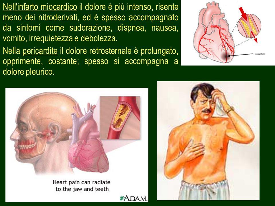 Nell infarto miocardico il dolore è più intenso, risente meno dei nitroderivati, ed è spesso accompagnato da sintomi come sudorazione, dispnea, nausea, vomito, irrequietezza e debolezza.