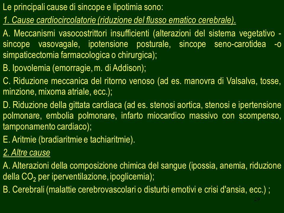 Le principali cause di sincope e lipotimia sono: