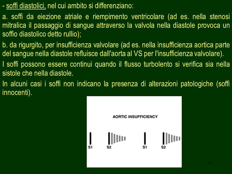 - soffi diastolici, nel cui ambito si differenziano:
