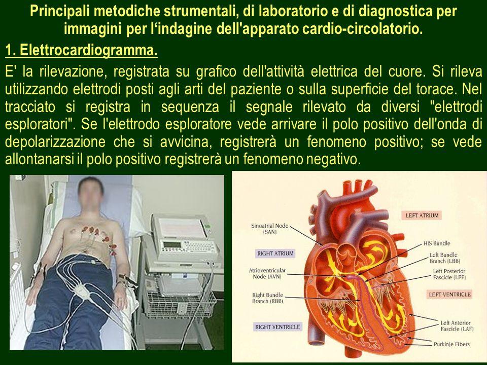 Principali metodiche strumentali, di laboratorio e di diagnostica per immagini per l'indagine dell apparato cardio-circolatorio.