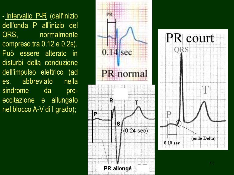 Intervallo P-R (dall inizio dell onda P all inizio del QRS, normalmente compreso tra 0.12 e 0.2s).