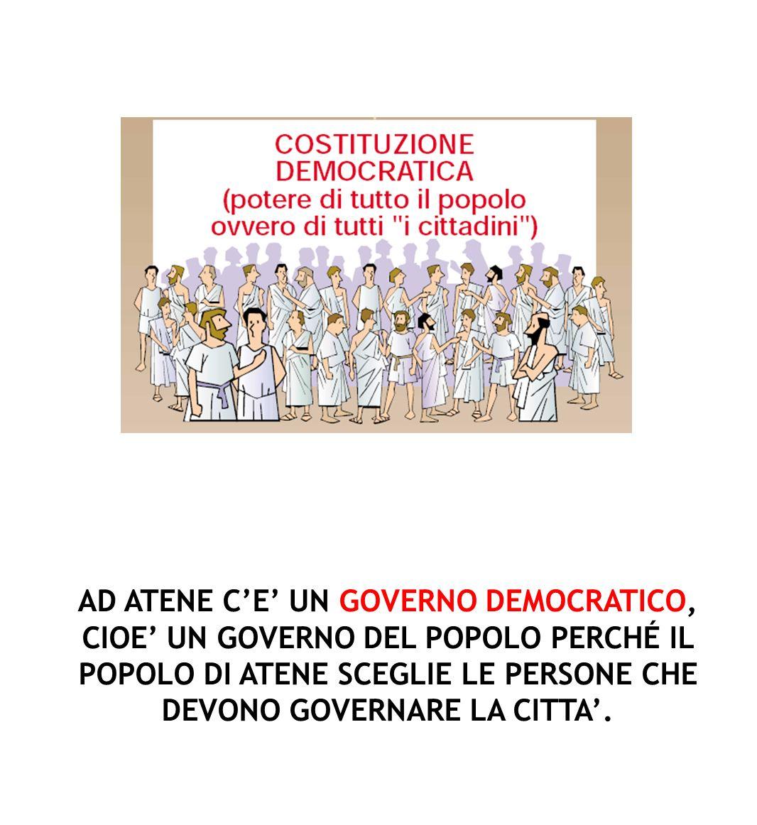 AD ATENE C'E' UN GOVERNO DEMOCRATICO, CIOE' UN GOVERNO DEL POPOLO PERCHÉ IL POPOLO DI ATENE SCEGLIE LE PERSONE CHE DEVONO GOVERNARE LA CITTA'.