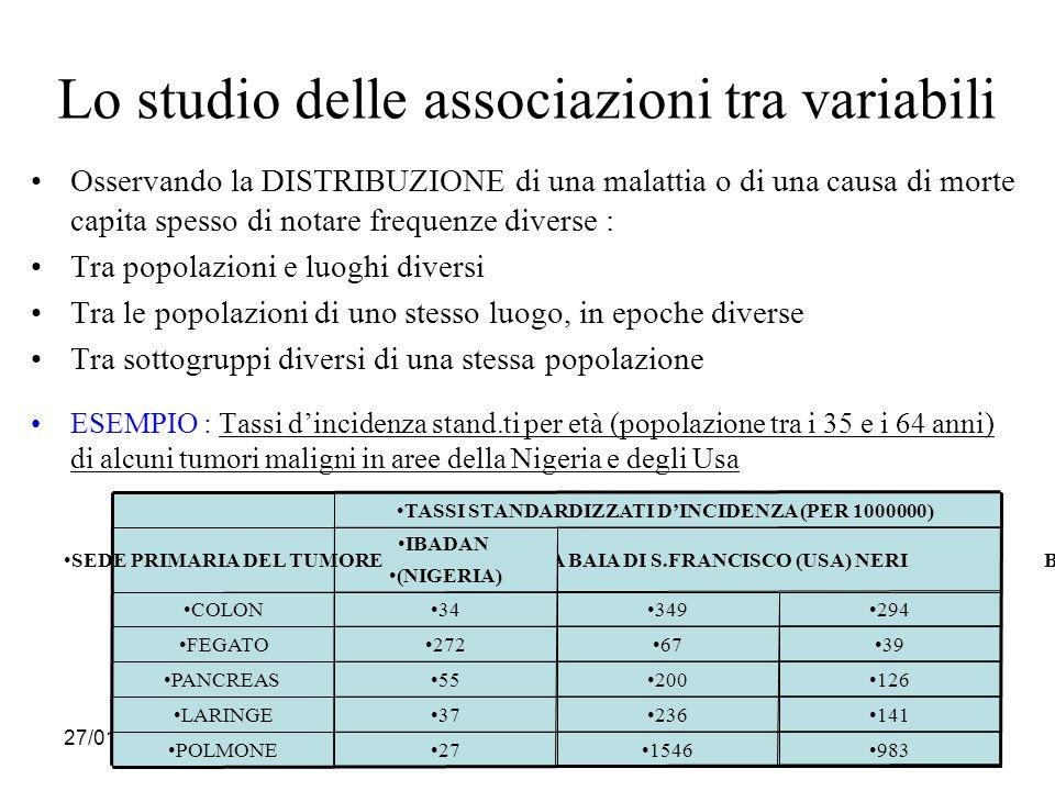 Lo studio delle associazioni tra variabili