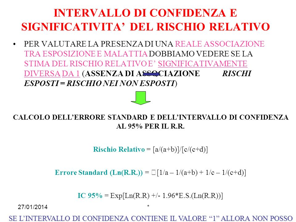 INTERVALLO DI CONFIDENZA E SIGNIFICATIVITA' DEL RISCHIO RELATIVO