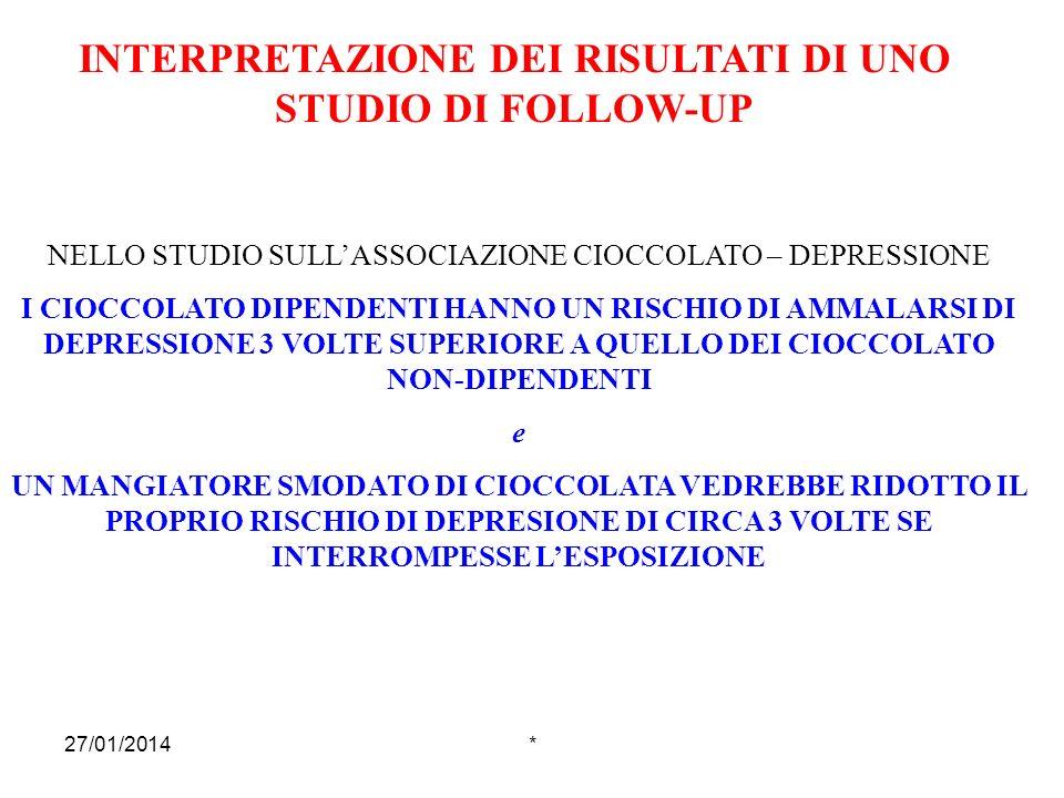 INTERPRETAZIONE DEI RISULTATI DI UNO STUDIO DI FOLLOW-UP