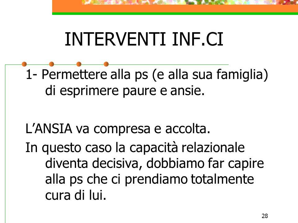 INTERVENTI INF.CI1- Permettere alla ps (e alla sua famiglia) di esprimere paure e ansie. L'ANSIA va compresa e accolta.