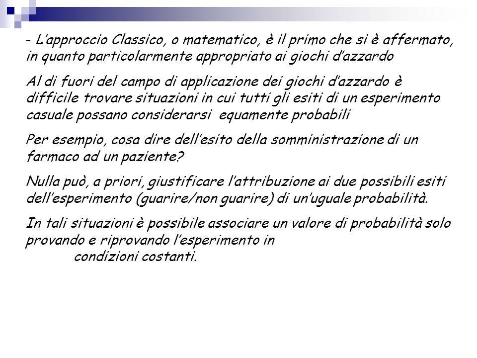 - L'approccio Classico, o matematico, è il primo che si è affermato, in quanto particolarmente appropriato ai giochi d'azzardo