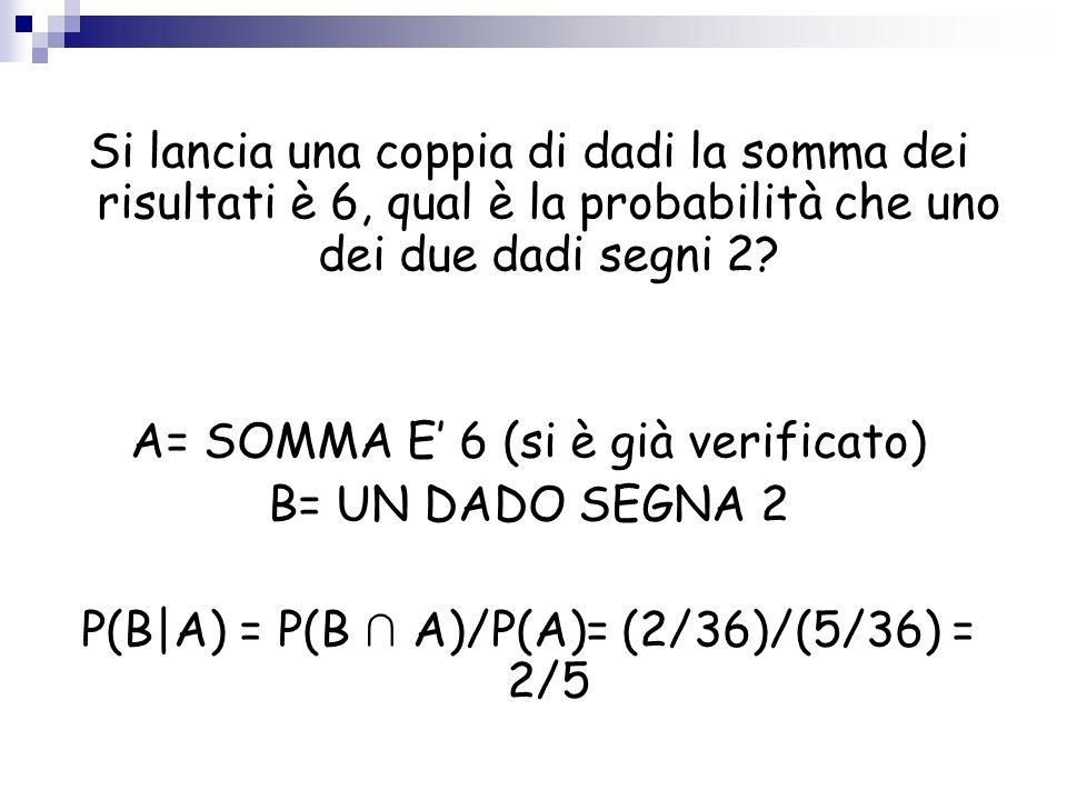 A= SOMMA E' 6 (si è già verificato) B= UN DADO SEGNA 2