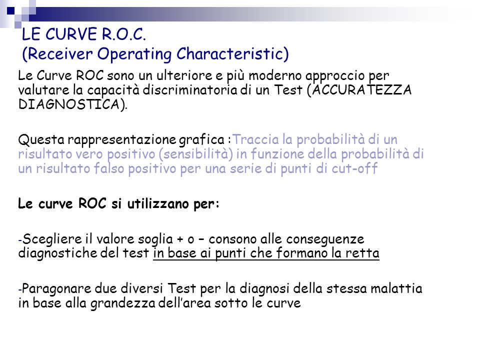 LE CURVE R.O.C. (Receiver Operating Characteristic)