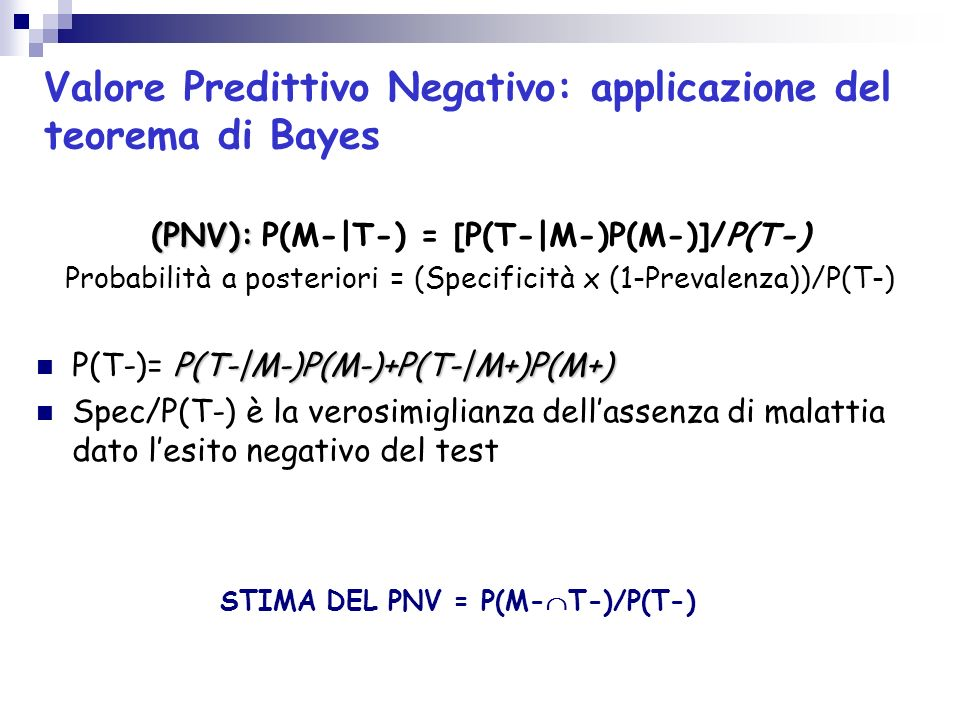 STIMA DEL PNV = P(M-T-)/P(T-)