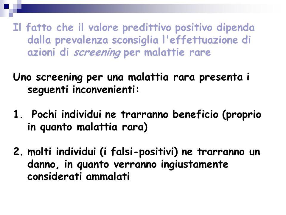 Il fatto che il valore predittivo positivo dipenda dalla prevalenza sconsiglia l effettuazione di azioni di screening per malattie rare