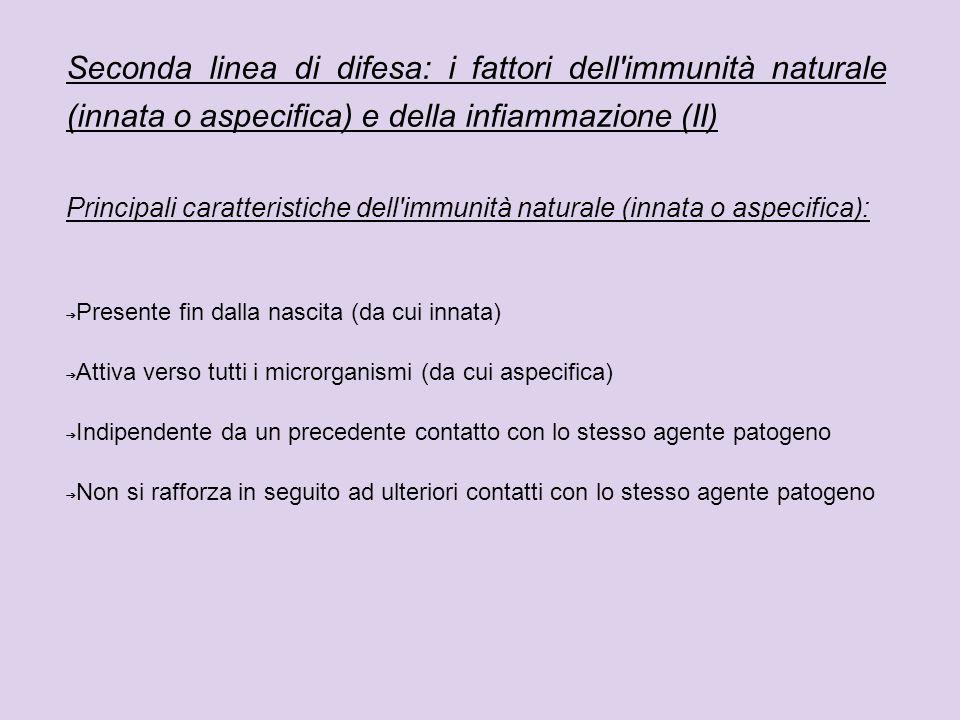 Seconda linea di difesa: i fattori dell immunità naturale (innata o aspecifica) e della infiammazione (II)