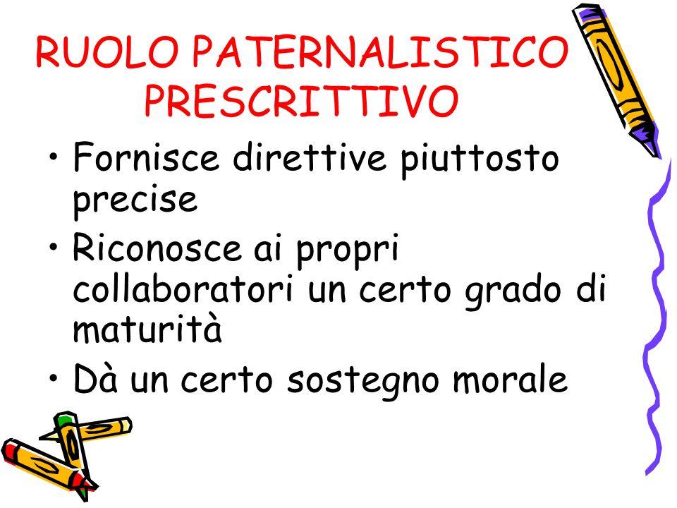 RUOLO PATERNALISTICO PRESCRITTIVO