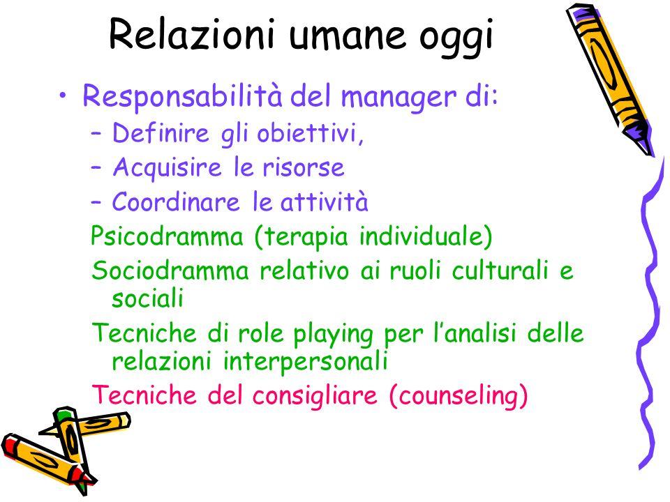 Relazioni umane oggi Responsabilità del manager di: