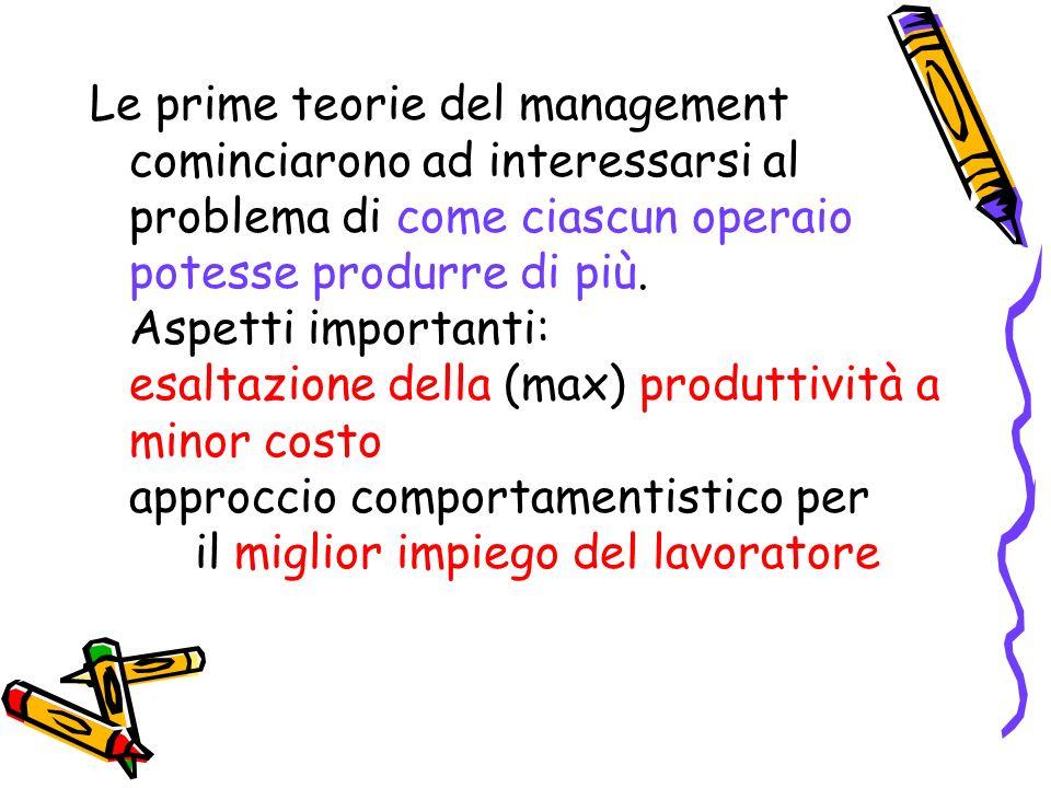 Le prime teorie del management cominciarono ad interessarsi al problema di come ciascun operaio potesse produrre di più.