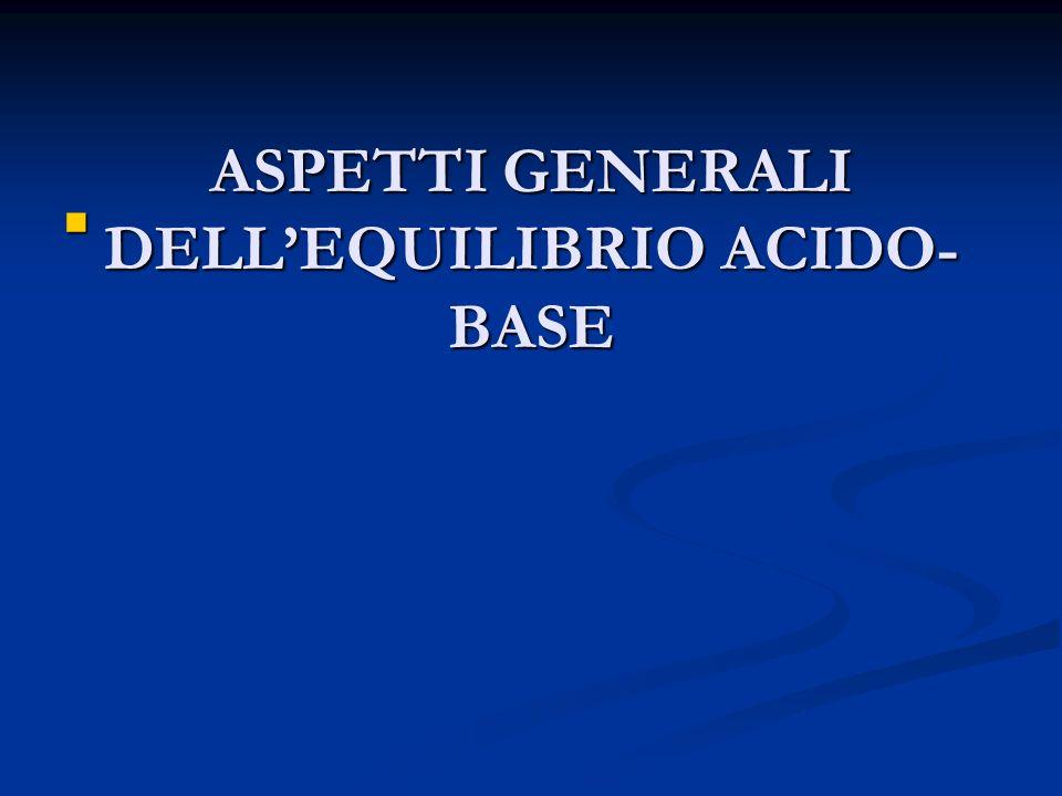 ASPETTI GENERALI DELL'EQUILIBRIO ACIDO-BASE