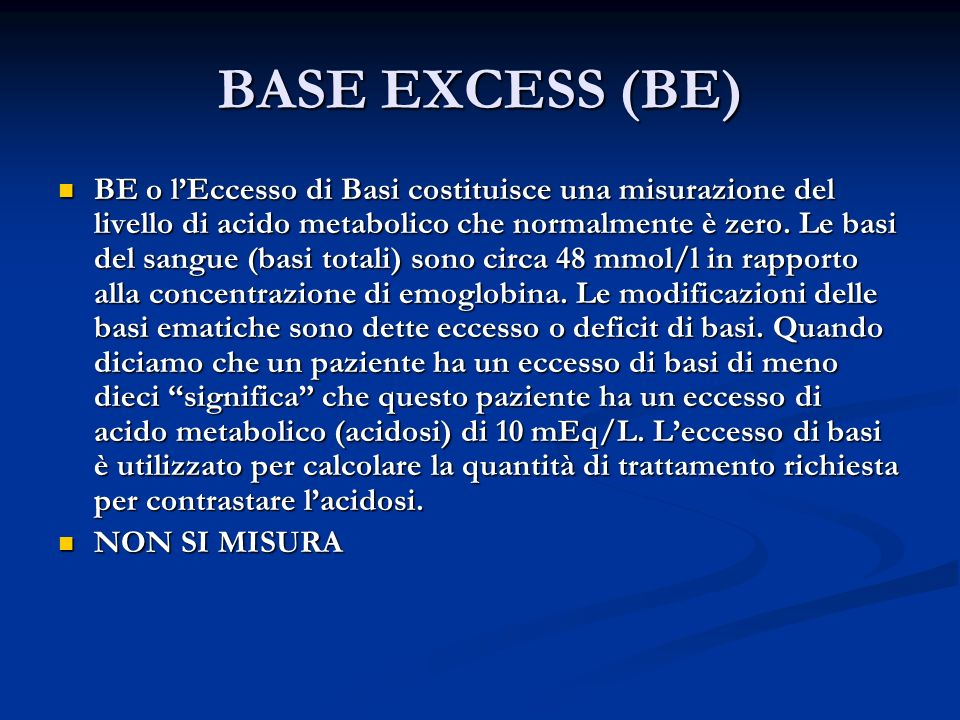 BASE EXCESS (BE)