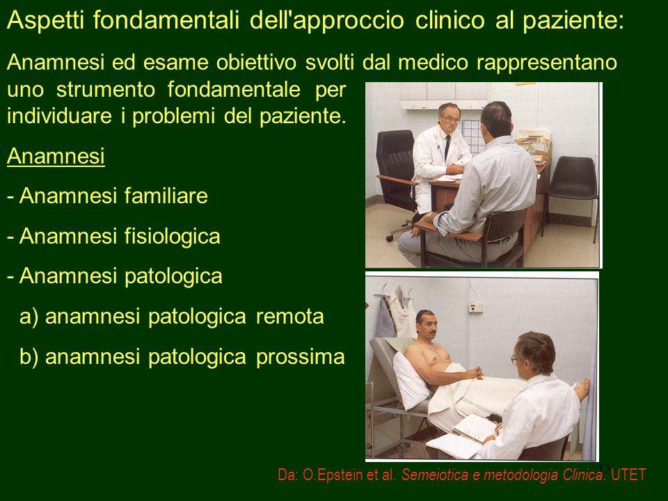 Aspetti fondamentali dell approccio clinico al paziente: