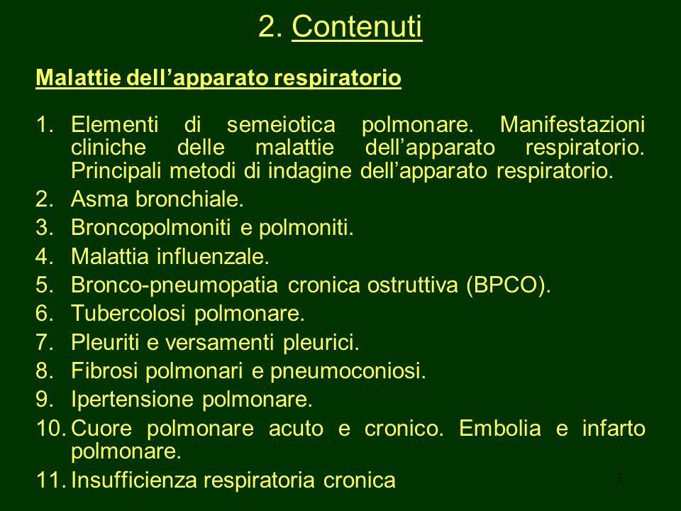 2. Contenuti Malattie dell'apparato respiratorio