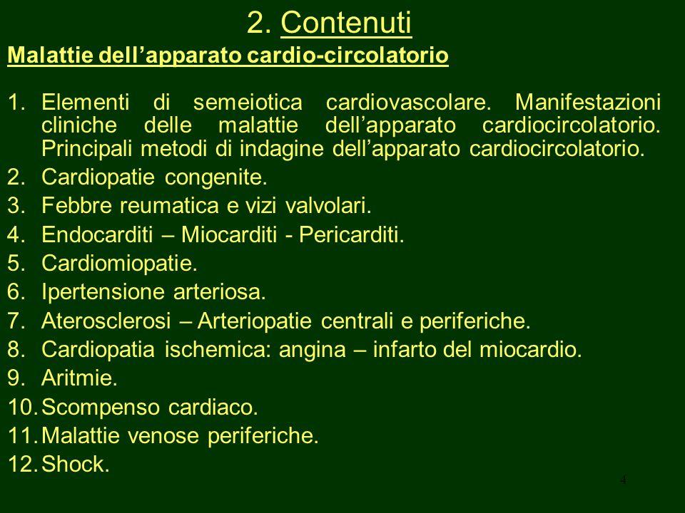 2. Contenuti Malattie dell'apparato cardio-circolatorio