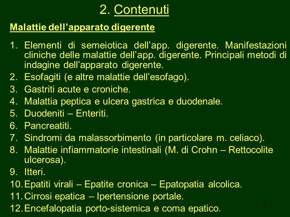 2. Contenuti Malattie dell'apparato digerente