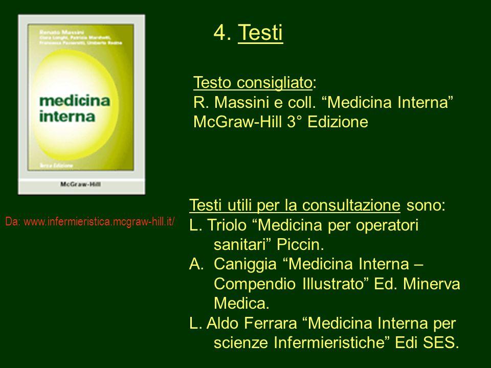 4. Testi Testo consigliato: R. Massini e coll. Medicina Interna