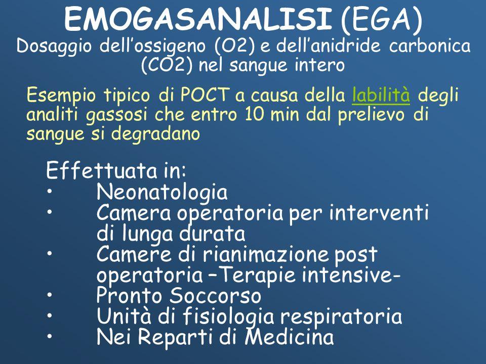 EMOGASANALISI (EGA) Effettuata in: Neonatologia