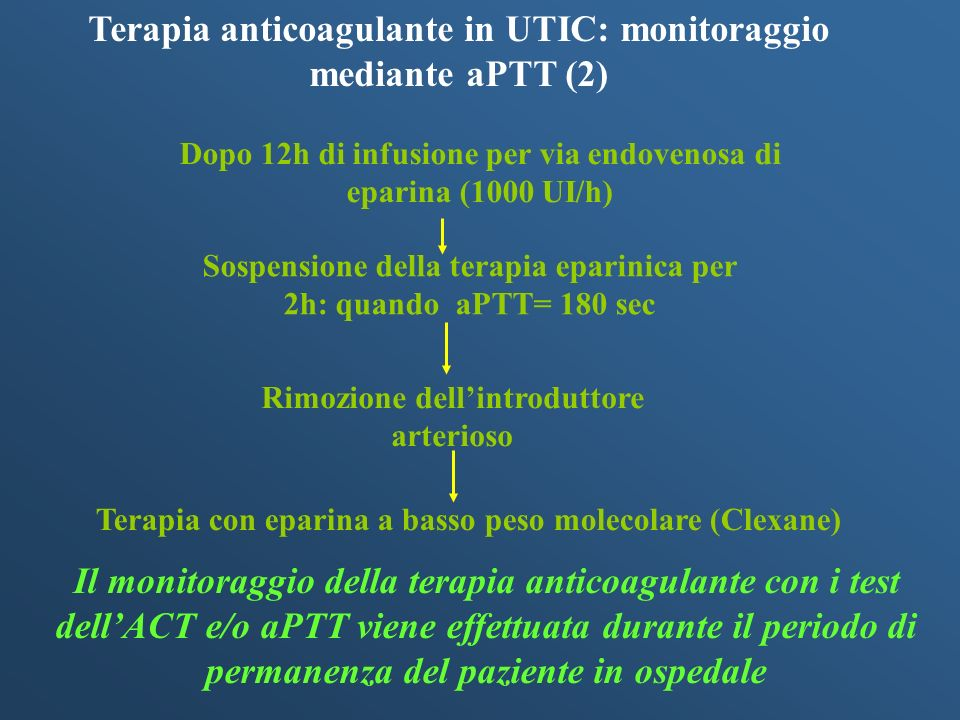 Terapia anticoagulante in UTIC: monitoraggio mediante aPTT (2)
