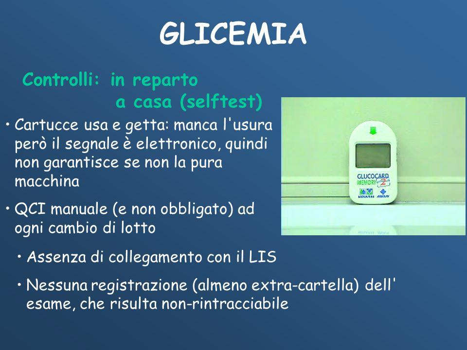 GLICEMIA Controlli: in reparto a casa (selftest)