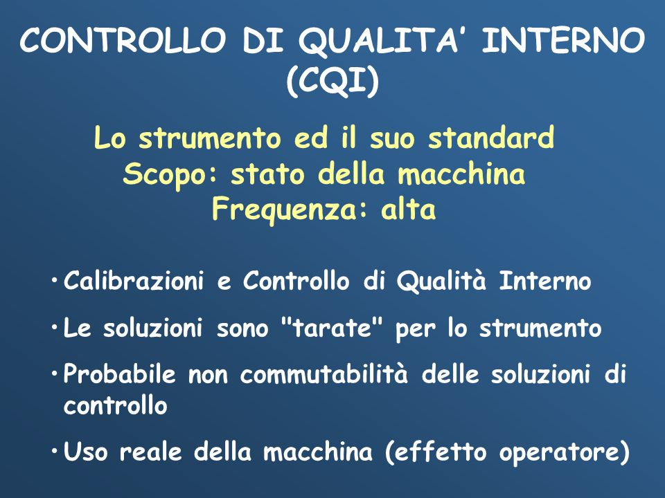 CONTROLLO DI QUALITA' INTERNO (CQI)