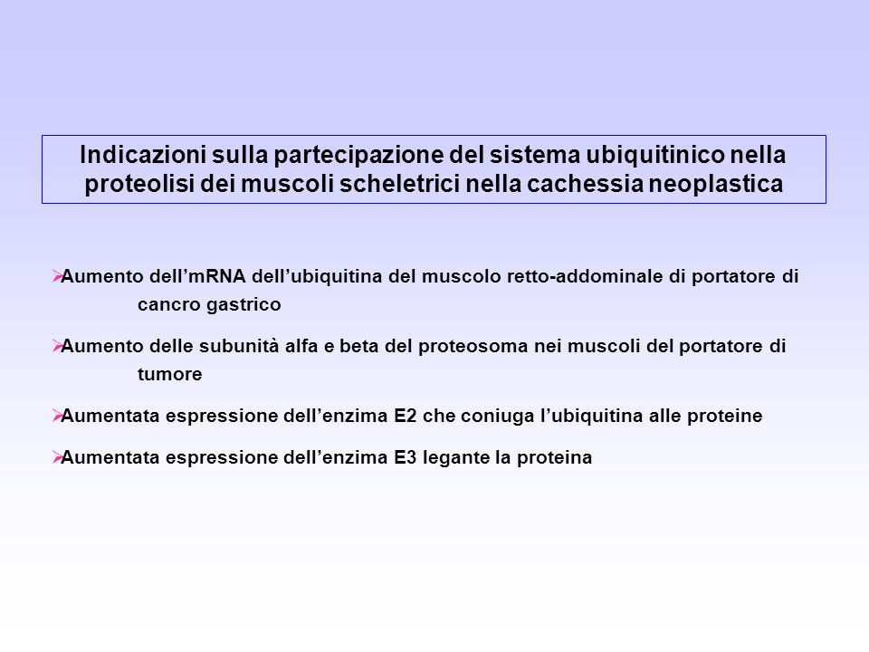 Indicazioni sulla partecipazione del sistema ubiquitinico nella proteolisi dei muscoli scheletrici nella cachessia neoplastica