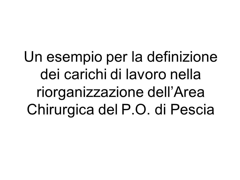 Un esempio per la definizione dei carichi di lavoro nella riorganizzazione dell'Area Chirurgica del P.O.