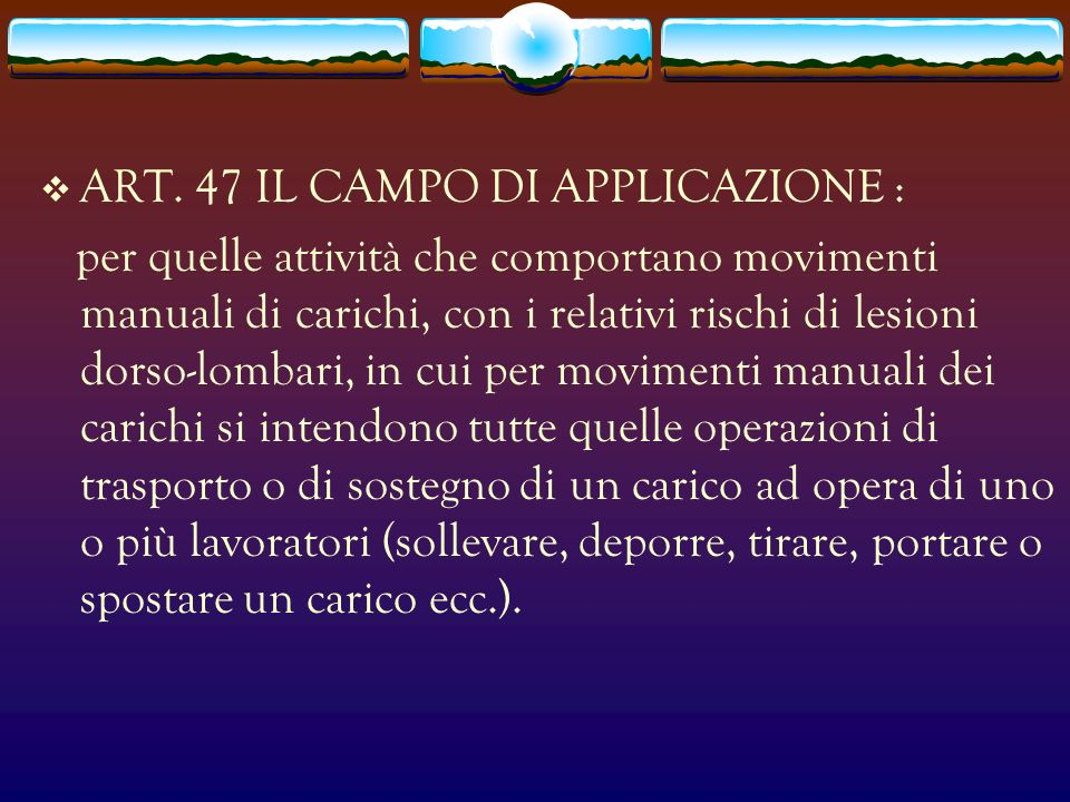ART. 47 IL CAMPO DI APPLICAZIONE :
