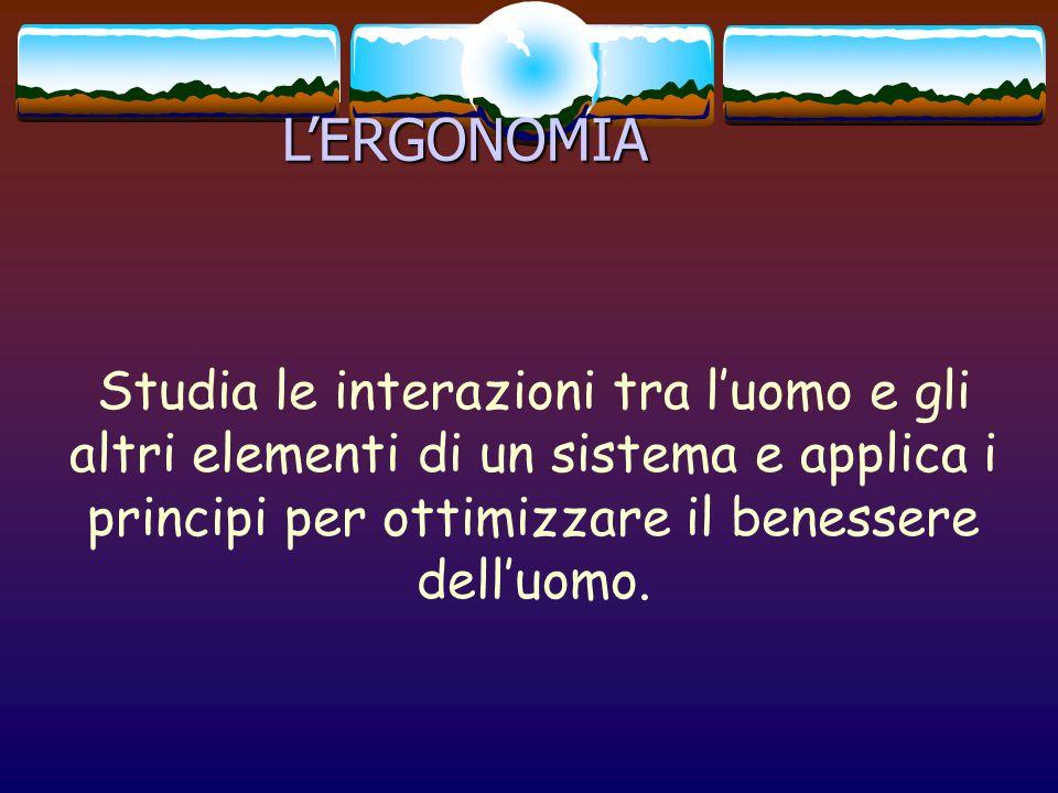 L'ERGONOMIA Studia le interazioni tra l'uomo e gli altri elementi di un sistema e applica i principi per ottimizzare il benessere dell'uomo.