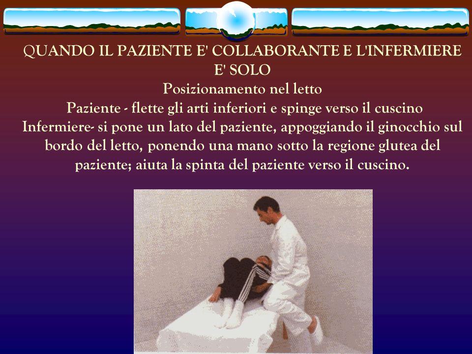 QUANDO IL PAZIENTE E COLLABORANTE E L INFERMIERE E SOLO Posizionamento nel letto Paziente - flette gli arti inferiori e spinge verso il cuscino Infermiere- si pone un lato del paziente, appoggiando il ginocchio sul bordo del letto, ponendo una mano sotto la regione glutea del paziente; aiuta la spinta del paziente verso il cuscino.