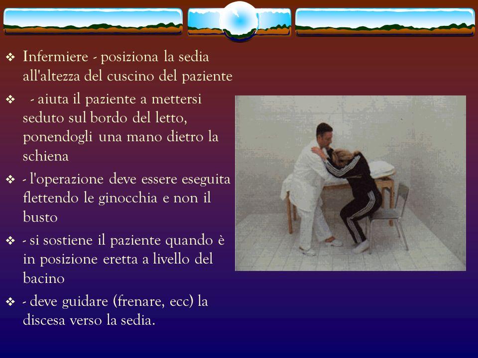 Infermiere - posiziona la sedia all altezza del cuscino del paziente