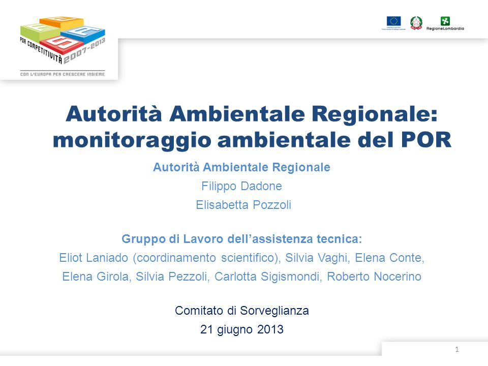Autorità Ambientale Regionale: monitoraggio ambientale del POR