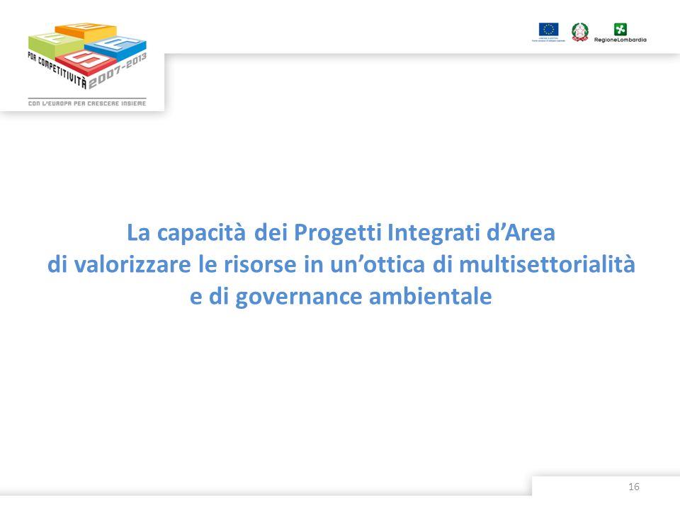 La capacità dei Progetti Integrati d'Area di valorizzare le risorse in un'ottica di multisettorialità e di governance ambientale