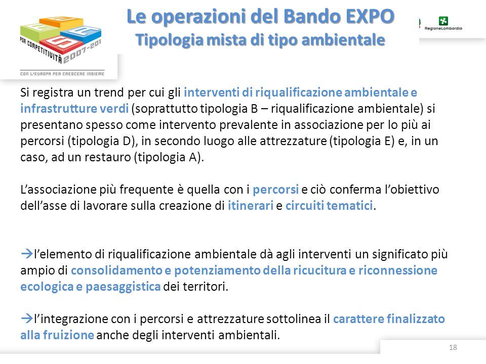 Le operazioni del Bando EXPO Tipologia mista di tipo ambientale